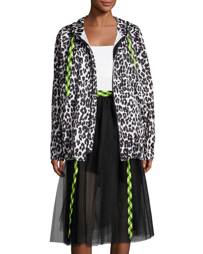 Leopard-Print Hooded Coat, Bone/Black