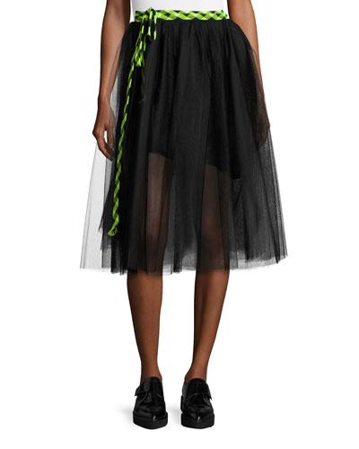 Check-Tie Tulle Midi Skirt, Black