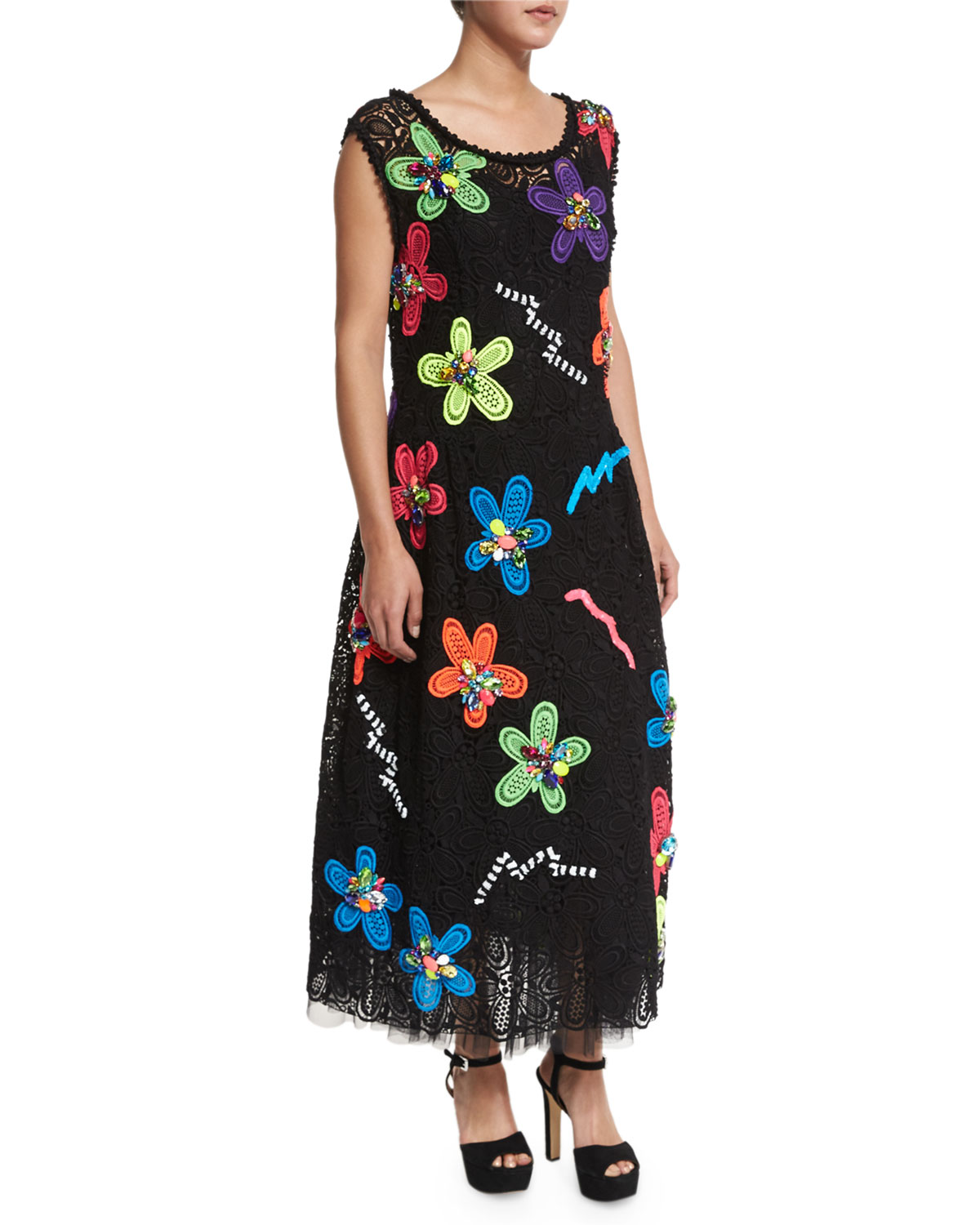 Neon Flower-Embroidered Guipure Dress, Black