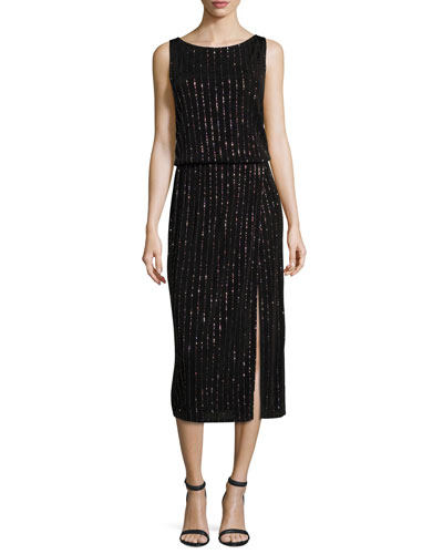 Glitter-Pinstriped V-Back Midi Dress, Black