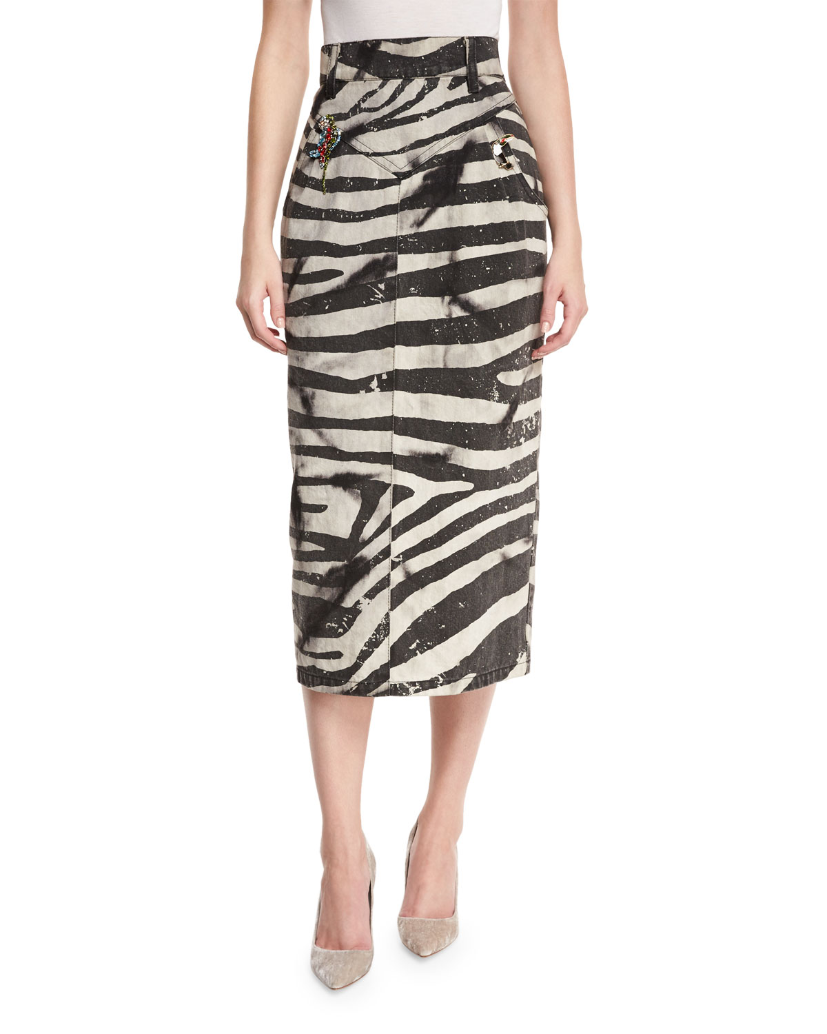 Embellished Zebra-Print Pencil Skirt, White