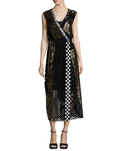 Sequined Animal-Print Midi Dress, Black