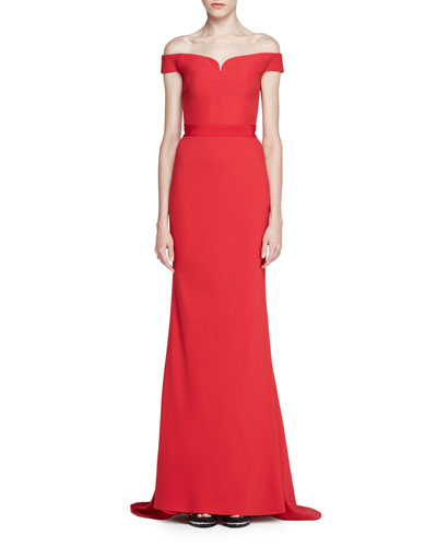 Off-Shoulder Crepe Bustier Gown, Red