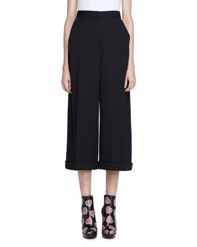 High-Waist Wide-Leg Cuffed Pants, Black