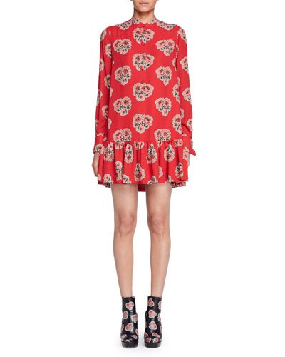 Poppy-Print Drop-Waist Dress, Black/Red