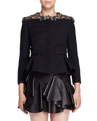 Jeweled-Neck Peplum Evening Jacket, Black