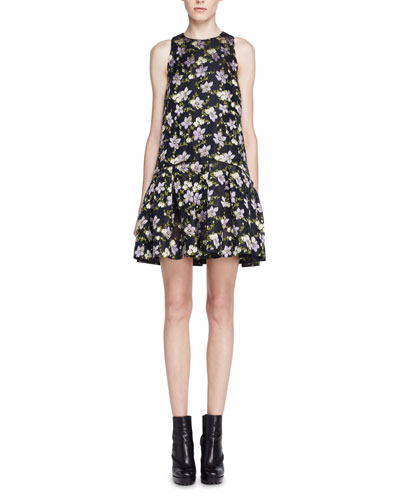 Floral Fil Coupe Drop-Waist Dress, Black