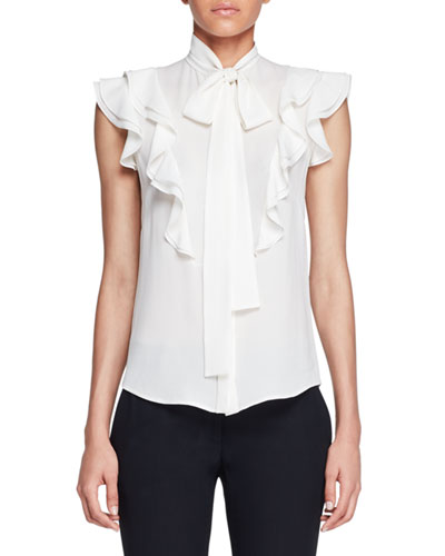 Ruffled Crepe Tie-Neck Blouse, Ivory