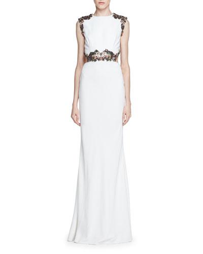 Embellished Open-Back Column Gown, Ivory