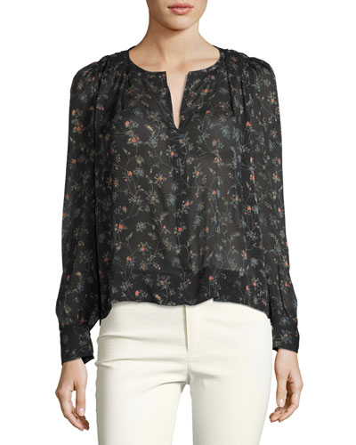 Split-Neck Floral-Print Blouse, Black
