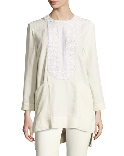 Crochet-Trim Linen Tunic Blouse, Ecru