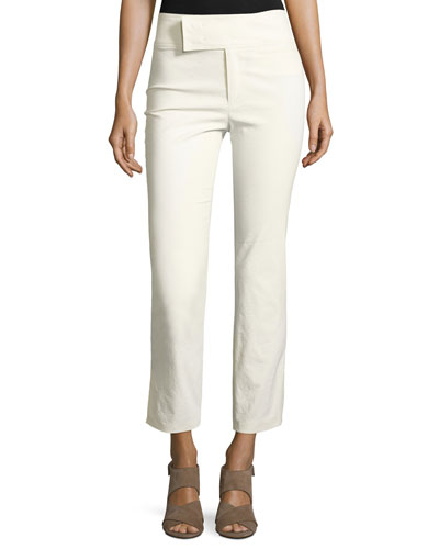 Wide-Waist Slim Cropped Pants