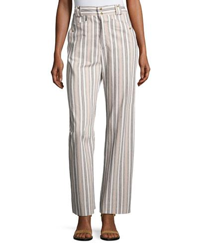 Striped Cotton Cargo Pants, pale Pink/Ecru