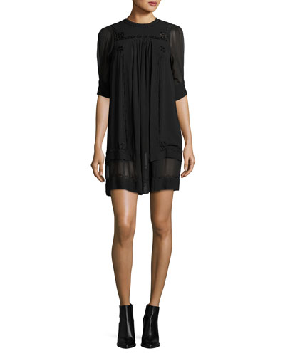 Embroidered Chiffon Shift Dress, Black