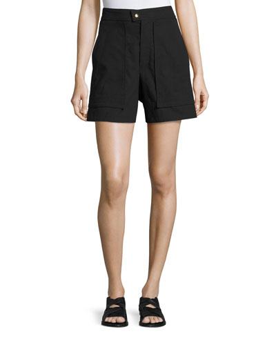 Flare-Leg High-Waist Shorts, Black