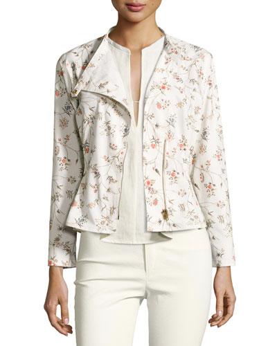 Floral Tacked Moto Jacket, Ecru