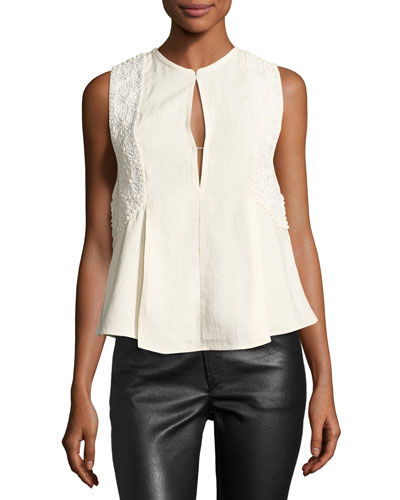 Sleeveless Embroidered Linen Keyhole Top