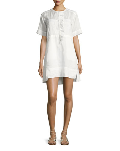 Short-Sleeve Ruffle-Placket Popover Dress, White