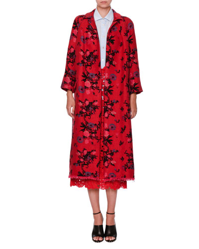 Washed Brocade Bracelet-Sleeve Topper Coat, Red