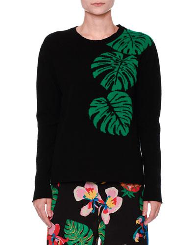 Cashmere Palm Intarsia Pullover Sweater, Black/Green