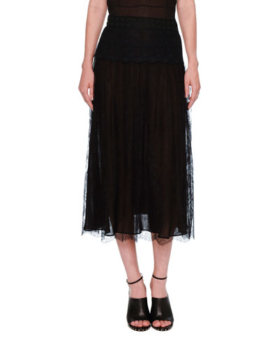 Lace A-Line Midi Skirt, Black