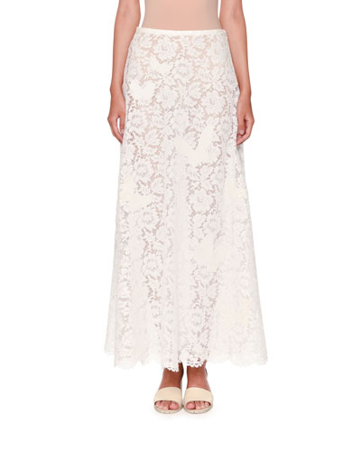 Butterfly Lace A-Line Maxi Skirt, White