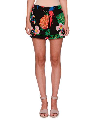 Tropical Dream Silk Shorts, Black/Multi