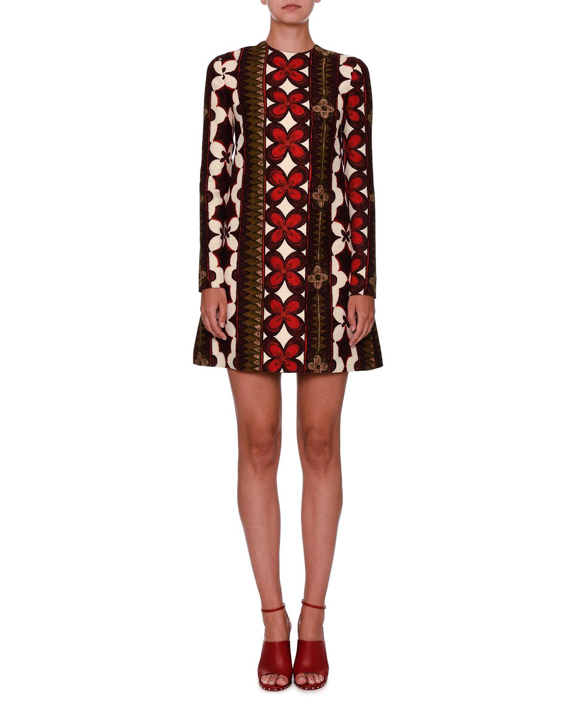 Long-Sleeve Cuban-Flower A-Line Mini Dress, Multi