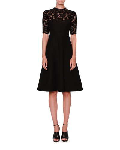 Lace-Yoke Half-Sleeve Dress, Black