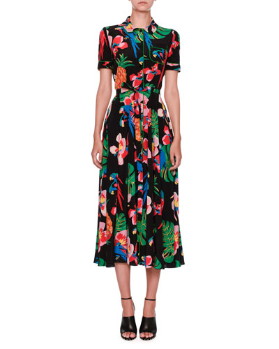 Tropical Dream Short-Sleeve Midi Shirtdress, Black