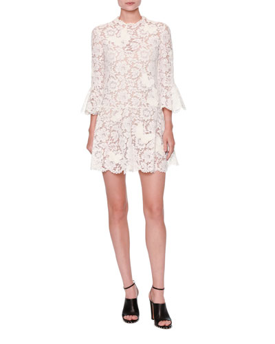 Butterfly Guipure-Lace 3/4-Sleeve Dress, White