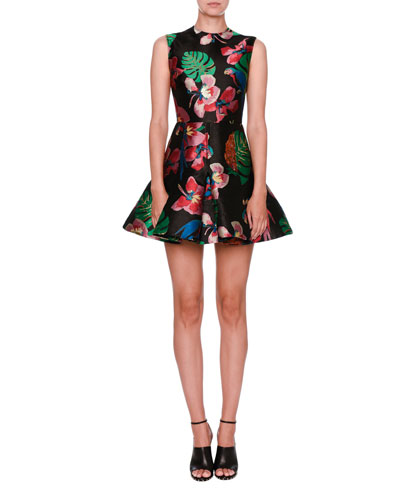 Tropical Dream Brocade Sleeveless Dress, Black/Multi