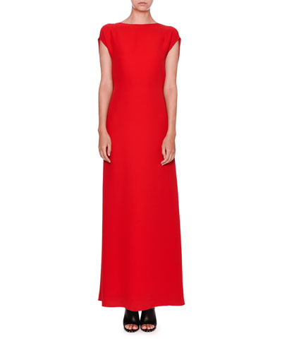 Sleeveless Cady Cowl-Back Gown, Red