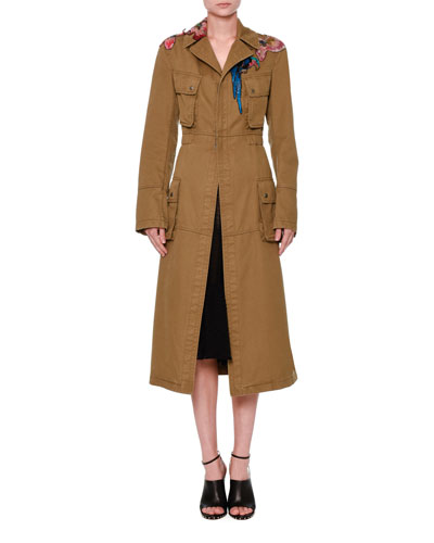 Tropical Dream Embroidered Trenchcoat, Khaki