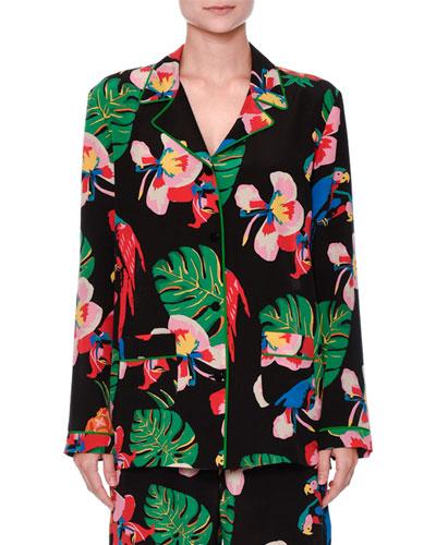 Tropical Dream Silk Pajama Blouse, Multi