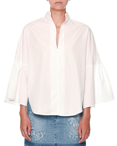 Full-Sleeve Cutaway-Hem Poplin Blouse, White