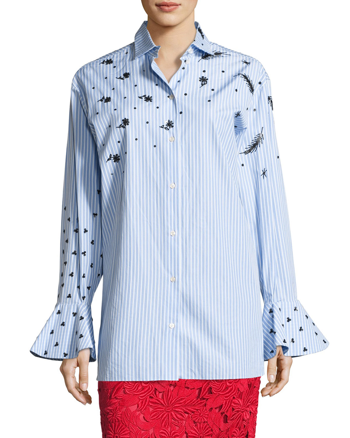 Long-Sleeve Embroidered Poplin Blouse