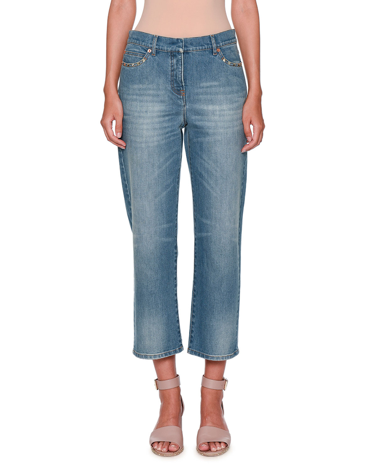 Rockstud Boyfriend-Fit Jeans, Denim