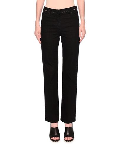 Rockstud Straight-Leg Jeans, Black