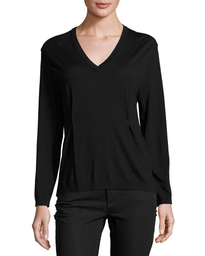 V-Neck Rockstud Pintuck Sweater, Black