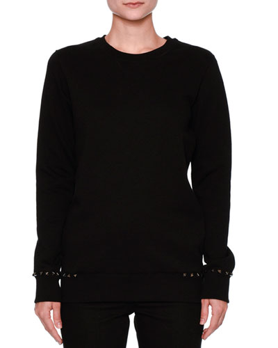 Rockstud-Trim Cotton Sweatshirt, Black