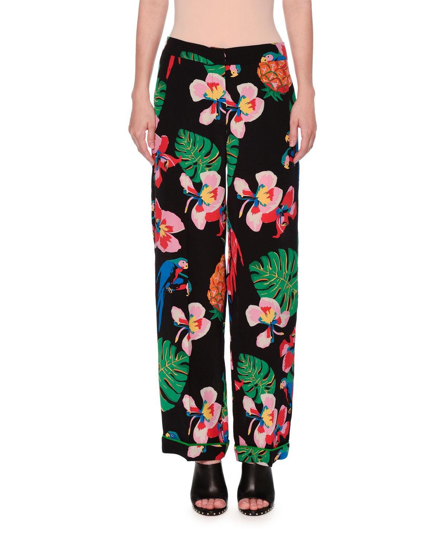 Tropical Dream Silk Pajama Pants, Multi