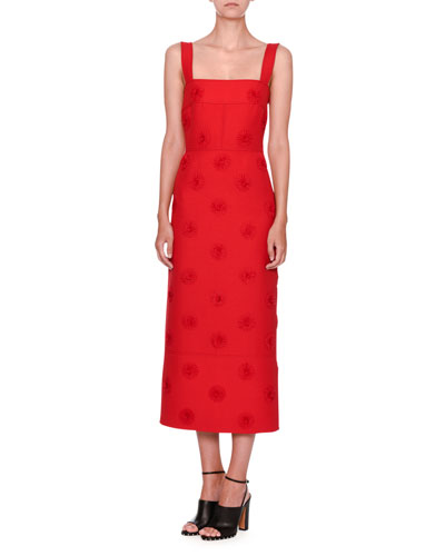 Daisy-Embellished Sleeveless Midi Dress, Red