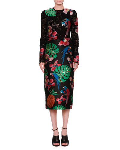 Valentino Lace Brocade Long Sleeve Dress Black Multi | Clothing
