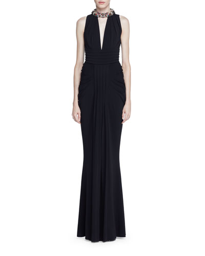 Jeweled-Halter Sleeveless Gown, Black