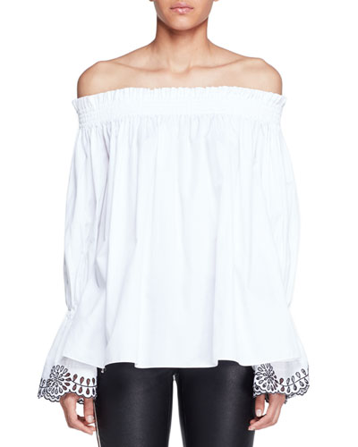 Embroidered Off-Shoulder Poplin Top, Ivory