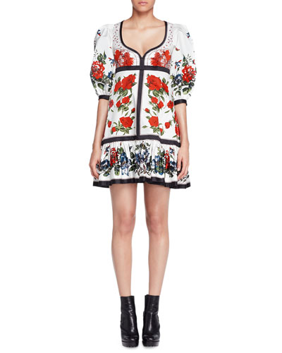 Bubble-Sleeve Tablecloth-Print Dress, White