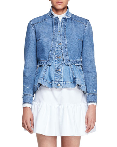 Denim Trompe l'Oeil Peplum Jacket, Middle Denim
