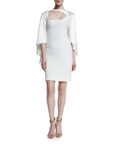 Cape-Sleeve Asymmetric-Neck Silk Dress, White