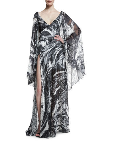 Swirled Velvet Cape-Sleeve Gown, Black/White